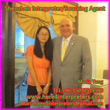 Freelance Shenzhen Interpreterer Maria Yang with Chairman of The Board USA. Table Tennis Michael